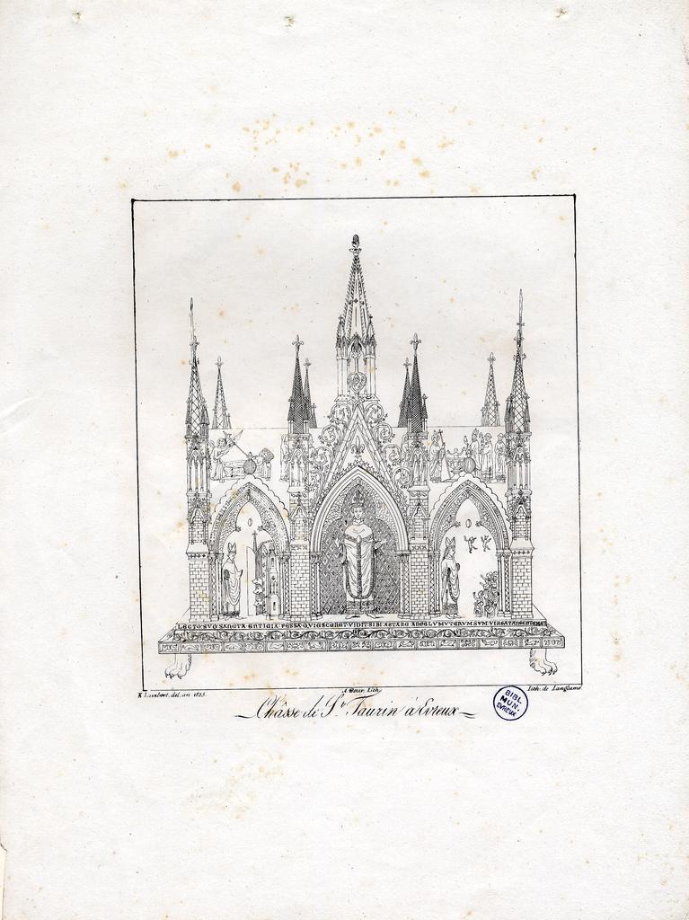 Châsse de S.t Taurin à Evreux / E. Lambert del. ; A. Bour lith. ; lith. de Langlumé   Langlumé (17..-18..). Graveur